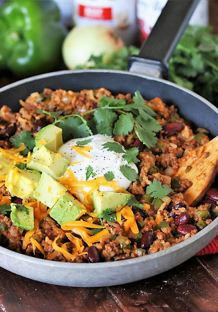 Ground Beef Burrito Bowl Skillet with Toppings Image