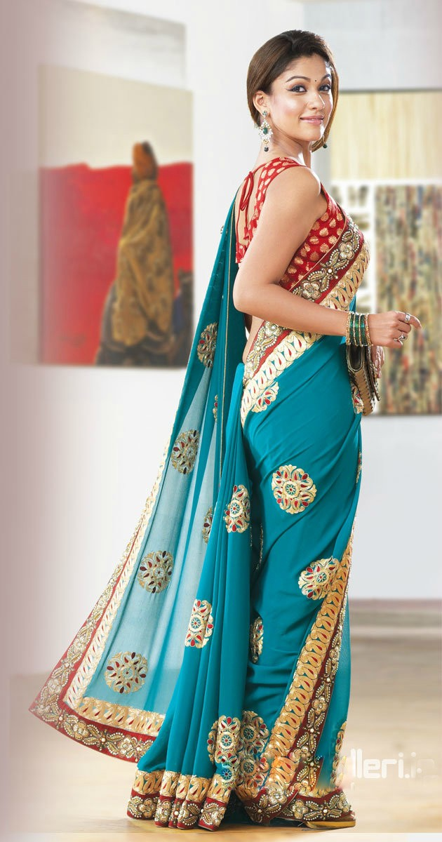 Actress Nayantara Green Saree