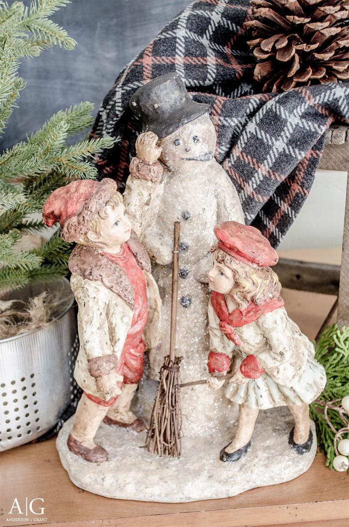 Vintage inspired snowman figurine