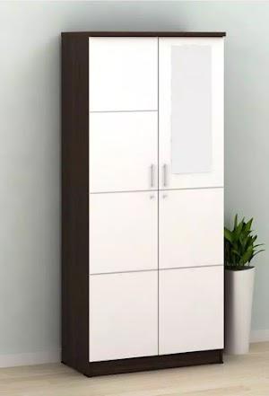 Metropolis alba lemari pakaian minimalis 2 pintu berbaya modern warna putih kombinasi american walnut