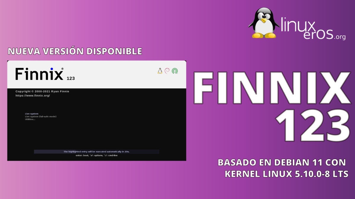 Finnix 123, con Kernel Linux 5.10.0-8 y más