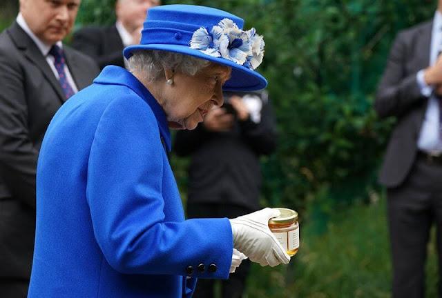 The Queen wore a royal blue velour coat by Stewart Parvin, a matching silk dress. Prince Albert's Sapphire brooch