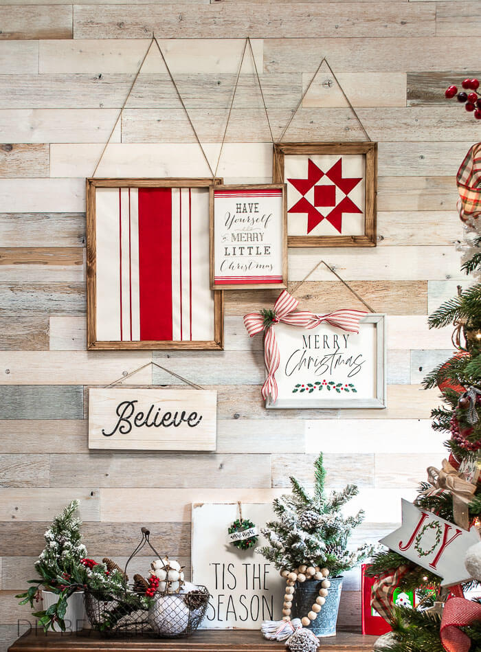 vintage inspired Christmas gallery wall