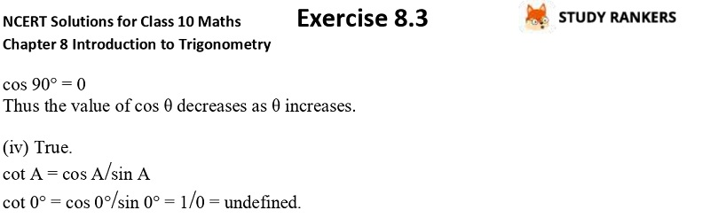 NCERT Solutions for Class 10 Maths Chapter 8 Introduction To Trigonometry Exercise 8.2 Part 4