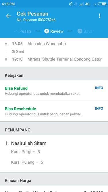 Mengisi biodata calon penumpang