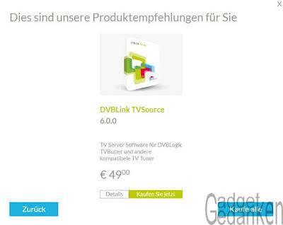 Screnshot: DVB Logic Produktempfehlung