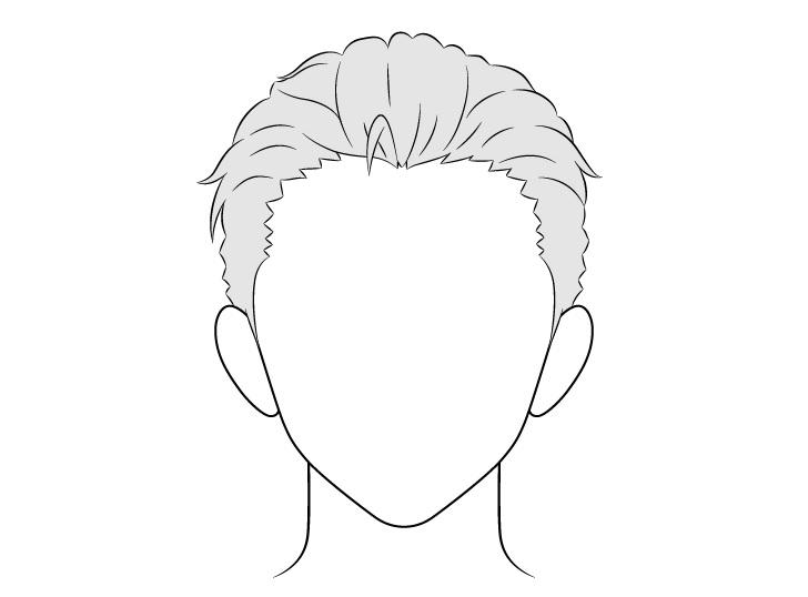 Anime menyisir kembali gambar rambut pria