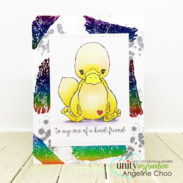 ScrappyScrappy: April Unity Stamp Blog Hop - Cuddlebug Platypus #scrappyscrappy #unitystampco #cuddlebug #youtube #quicktipvideo #video #card #cardmaking #papercraft #stamp #stamping #cuddlebugplatypus #platypus #decofoil #heidiswappminc #rainbowfoil #decofoiltransfergel #copicmarkers #stampandfoil