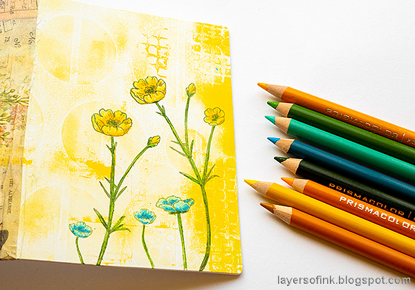 Layers of ink - Junk Journal Tutorial by Anna-Karin Evaldsson. Color with colored pencils.