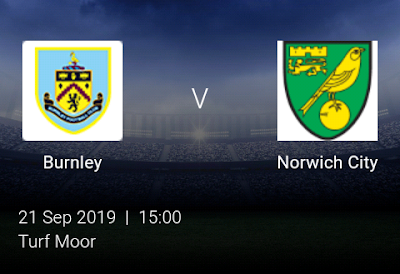 LIVE MATCH: Burnley Vs Norwich City Premier League 21/09/2019