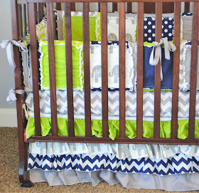 Elephant Crib Bumpers for Baby Boy