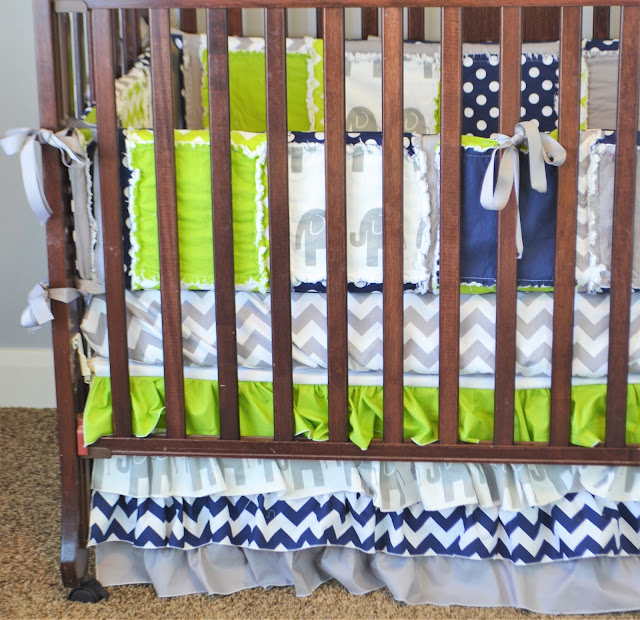 Elephant Crib Bumpers for Baby Boy
