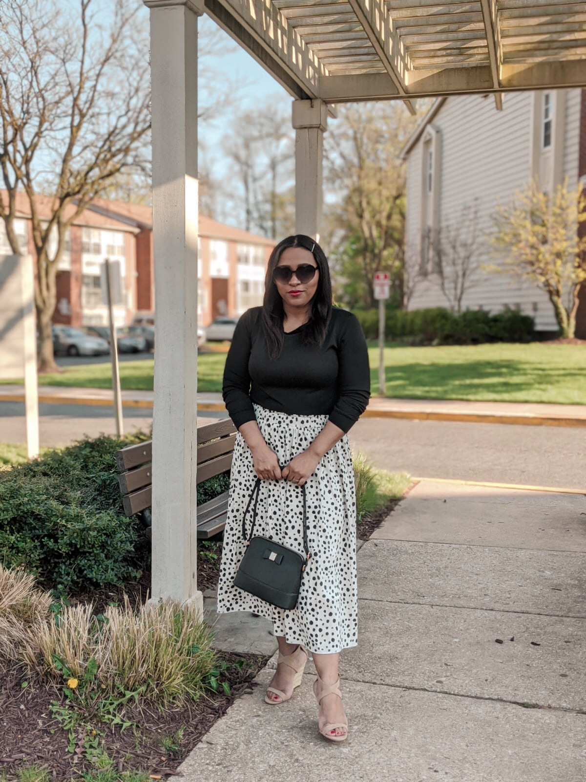 shein, shein reviews, dalmation print, printed skirt, pattys kloset, spring outfit ideas, midi skirt.