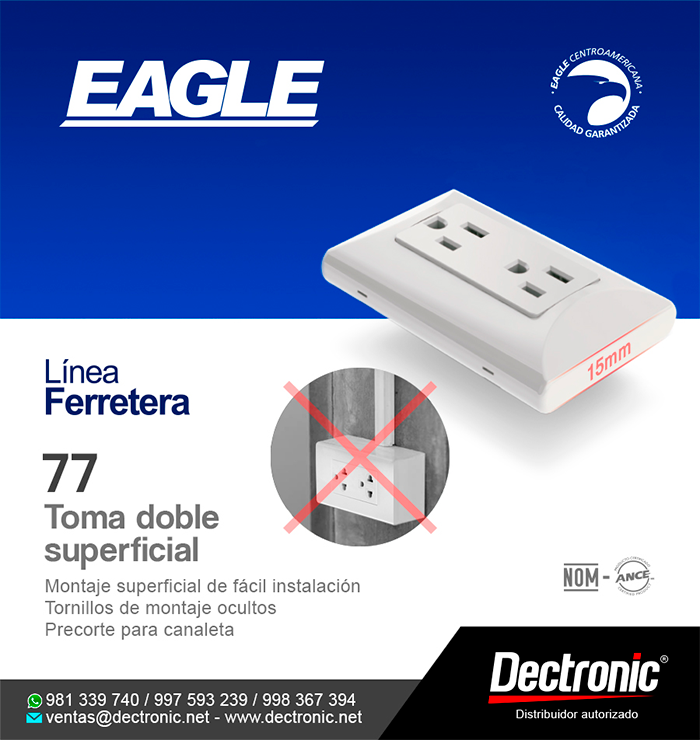 Toma doble superficial 77 - Eagle