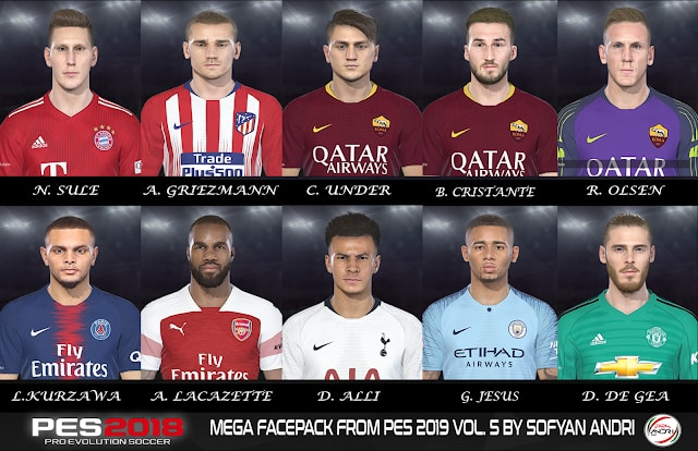 PES 2019 Mega Facepack Vol 5 For PES 2018