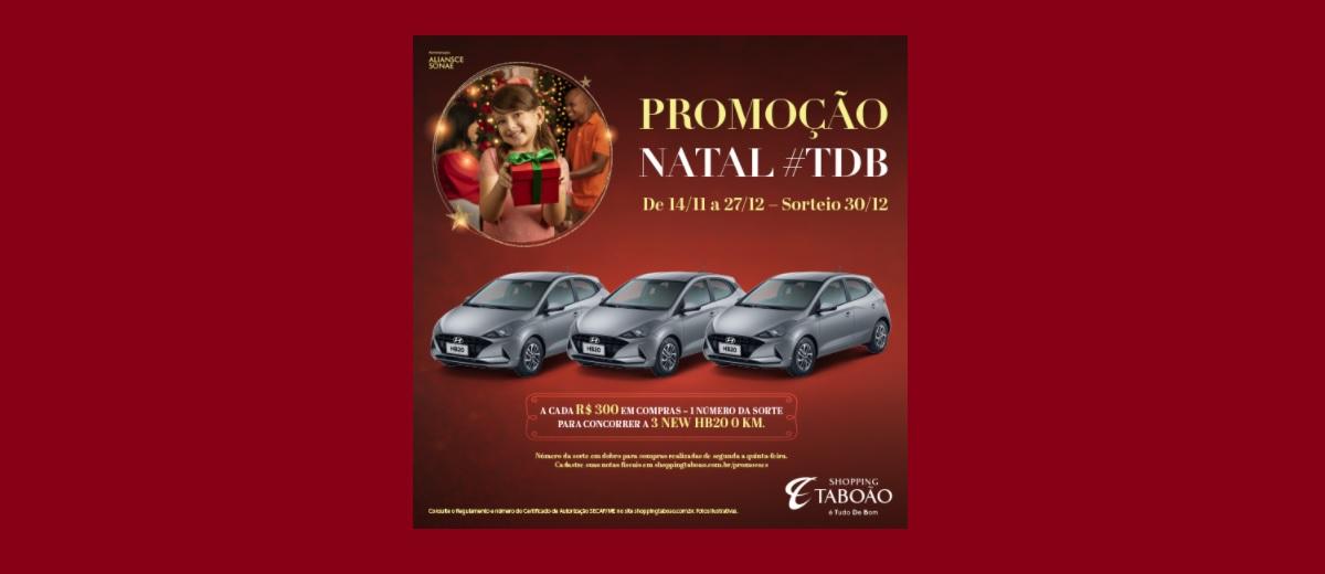 Promoção Shopping Taboão Natal 2020 - 3 Carros HB20