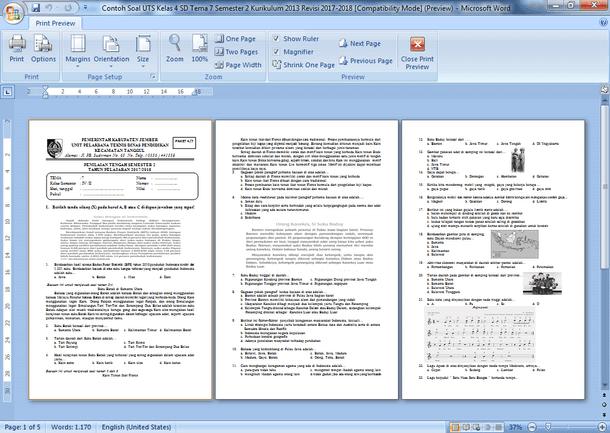 Contoh Soal UTS Kelas 4 SD Semester 2 Kurikulum 2013 Revisi 2017-2018