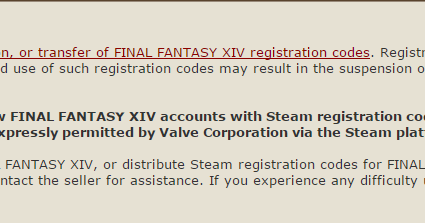 Prohibition on the Unauthorized Resale of FINAL FANTASY XIV