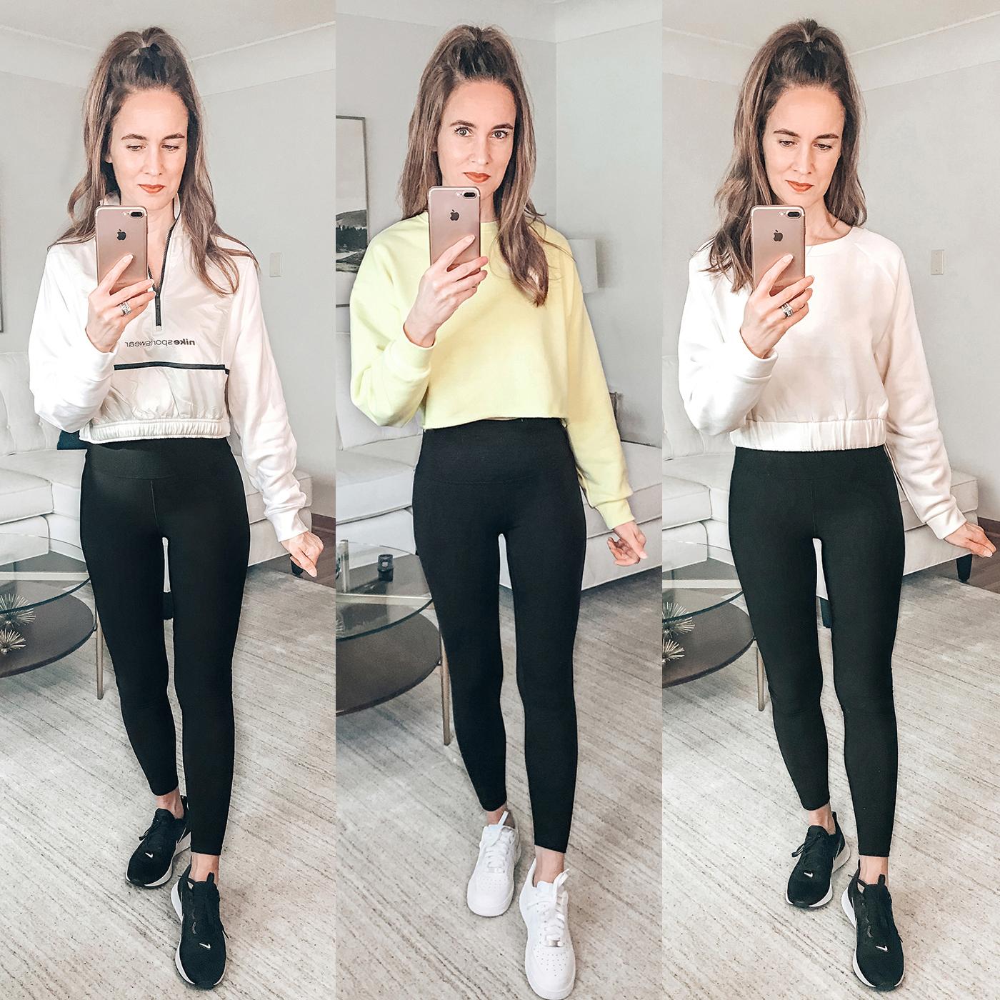 spring workout outfits, black leggings, yellow crop sweatshirt, nike air force 1 sneakers
