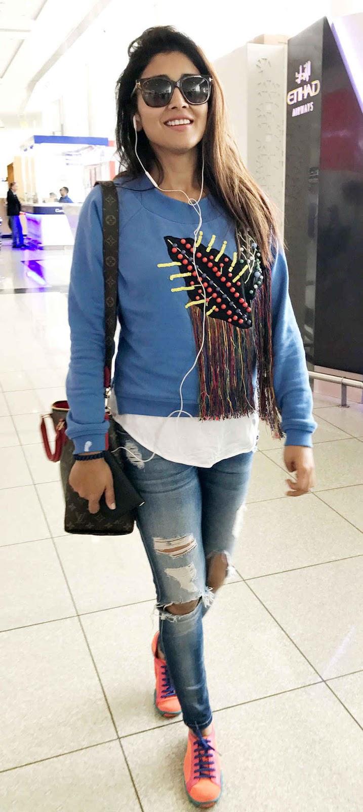 Shriya Saran Spotted at Airport In Abu Dhabi, United Arab Emirates
