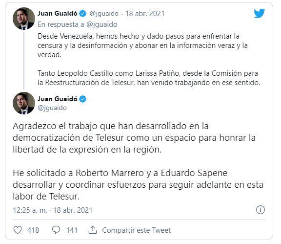 Guaidó designó a Roberto Marrero como nuevo presidente de TELESUR