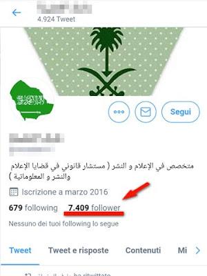 Profilo su Twitter che non ho mai deciso di seguire: pagina in arabo