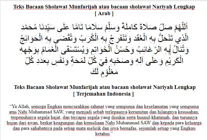 Teks Bacaan Sholawat Munfarijah Atau Bacaan Sholawat Nariyah