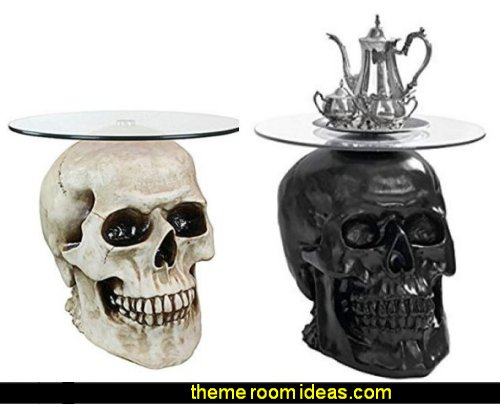 Lost Souls Gothic Skull Glass-Topped Table skull furniture halloween furniture halloween decor