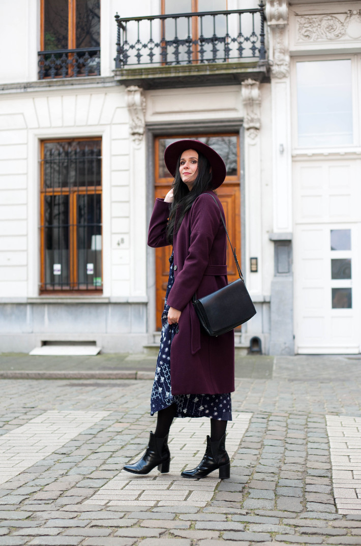 Outfit: patchwork midi dress, robe coat