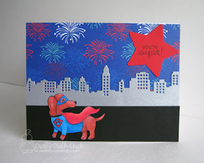 Superhero Dachshund Card by Crafty Math Chick | Dress-Up Doxies Stamp set by Newton's Nook Designs