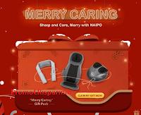 Logo Naipo : vinci gratis un pacco regalo ''Merry Caring''
