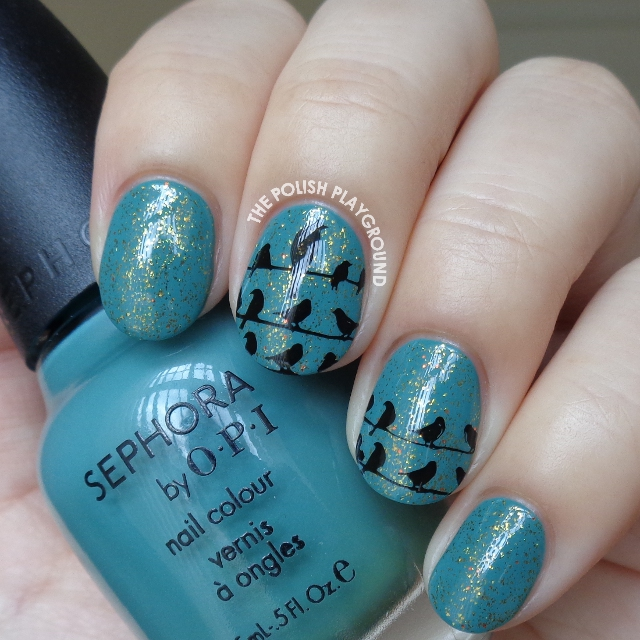 Teal and Gold Glitter Base with Black Crows Stamping Nail Art