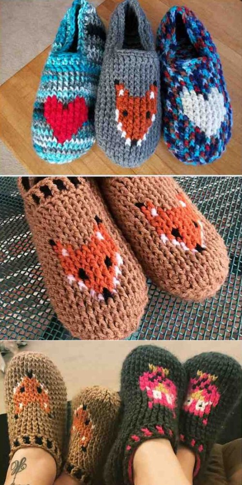 Easy & Fast Slippers with Heart of Fox - Free Pattern
