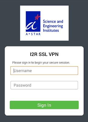 Mobile version of the obsolete I2R VPN login page