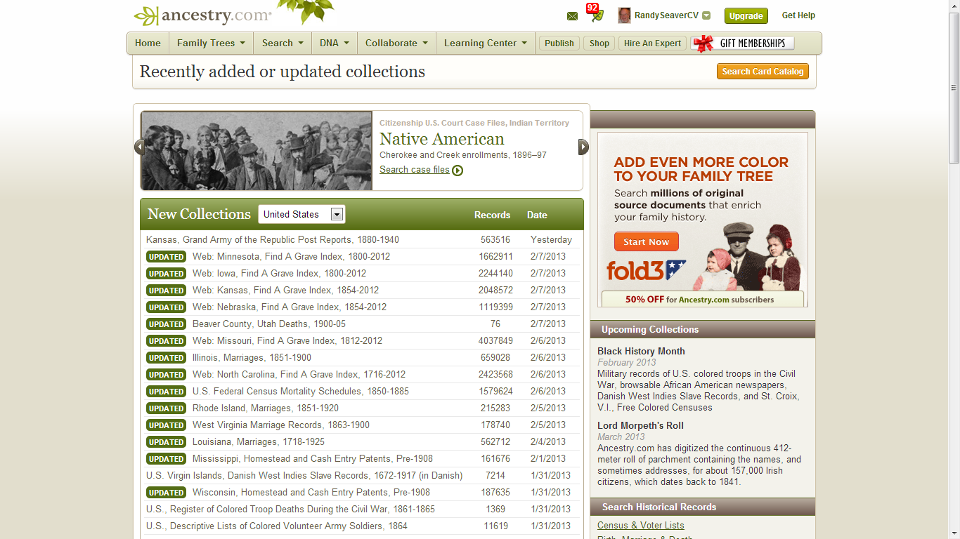 Genea-Musings: New Ancestry com Record Collections since 1 January 2013