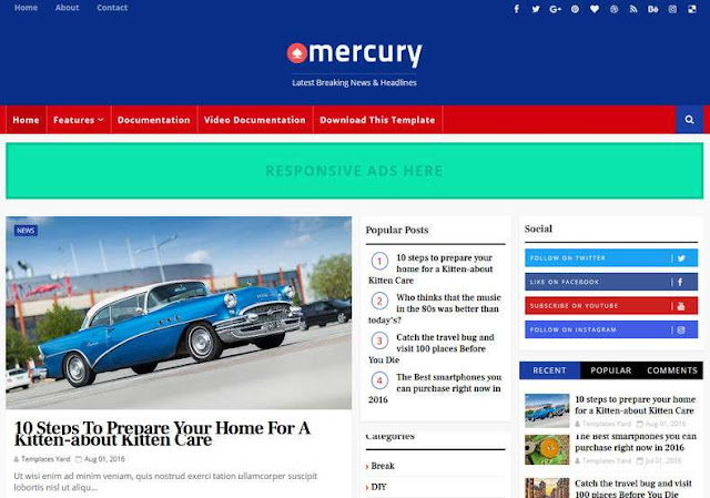 Mercury Blogger Theme