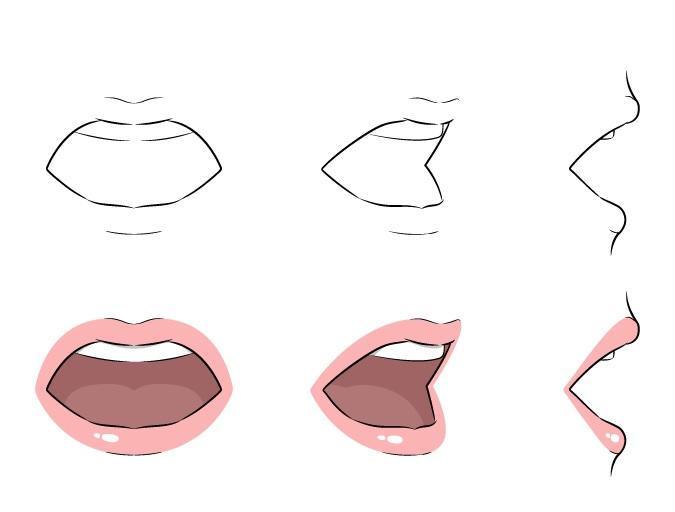 Menggambar bibir anime pada contoh mulut terbuka