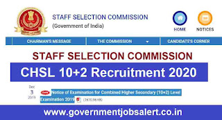 SSC CHSL 10+2 Recruitment 2020 Apply Now