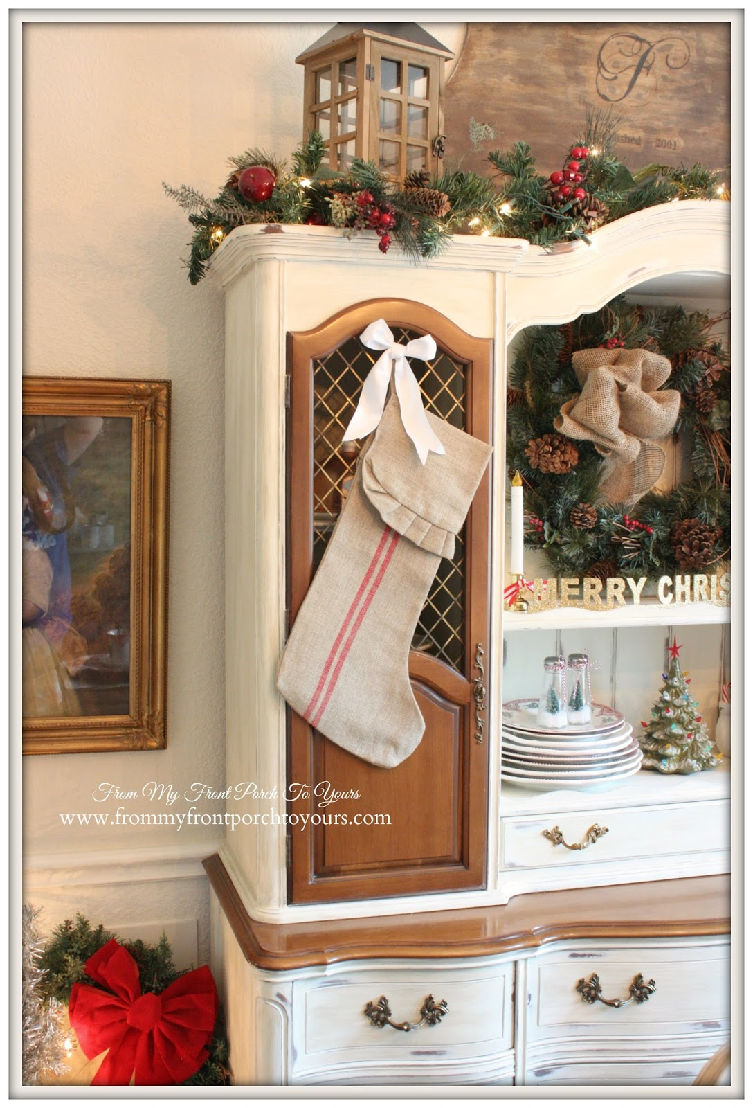 Striped Grain Sack Christmas Stocking-French Farmhouse Vintage Christmas Dining Room- From My Front Porch To Yours