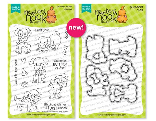 Puppy Playtime Stamp Set and coordinating Die Set by Newton's Nook Designs #newtonsnook