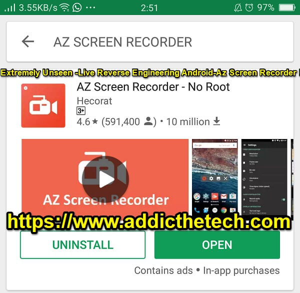 Extremely Unseen -Live Reverse Engineering Android-Az Screen Recorder !!