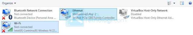 Klik kanan pada network yang sudah dipilih → klik Bridge Connections. Catatan: Jika muncul error silakan Anda klik kanan pada Wi-Fi → pilih tab Sharing → hapus ceklis pada dua kotak kecil.