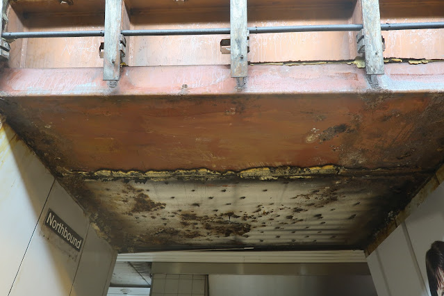 Water damage at Queen's Park has been left to slowly corrode the ceiling on the platform. What are our priorities?