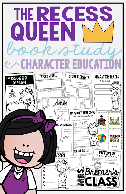 This pack of literacy activities goes with the book The Recess Queen by Alexis O'Neill. The unit is packed with engaging and standards based book study activities that focus on bullying and conflict resolution. It's a great springboard for making text-to-self connections and discussing self-regulation strategies. This leads nicely into focusing on how to be a good friend! Perfect for the beginning of the school year! K-1st Grade