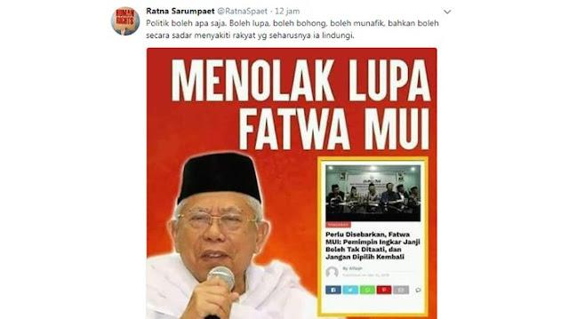 """Jokowi-Maruf Amin, Ratna Posting Fatwa MUI """"Pemimpin Ingkar Janji Jangan Pilih Kembali"""""""