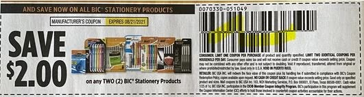 """$2.00/2 Bic Stationary Coupon from """"SMARTSOURCE"""" insert week of 8/1/21"""