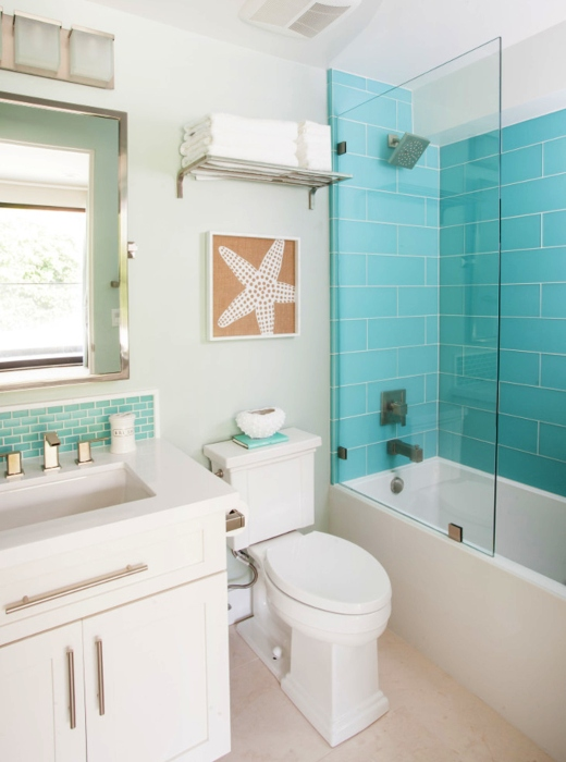 Turquoise Blue Coastal Bathroom Ideas Tiles Paint and more