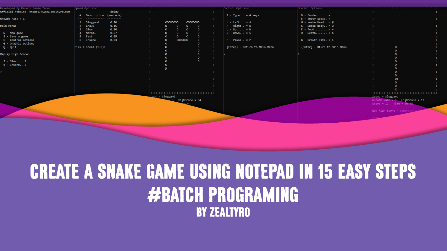 Make A Simple Snake Game In 15 Easy Steps - Batch Programing