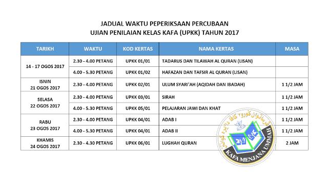 jadual peperiksaan percubaan UPKK 2017