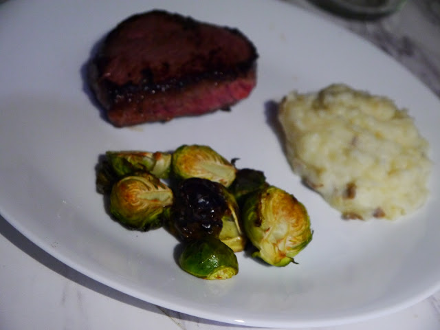 Demi-Glace Sirloin Steak with balsamic Brussels sprout plated